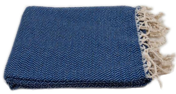 Turkish Peshtemel Towels - Bodrum Zirve (Marine Blue)