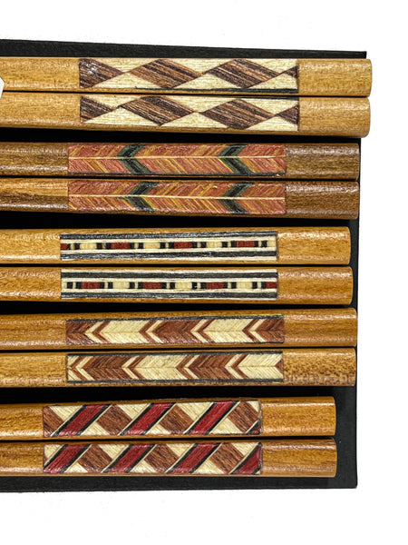 Geometric Pattern Wooden Chopsticks | JadeSouk