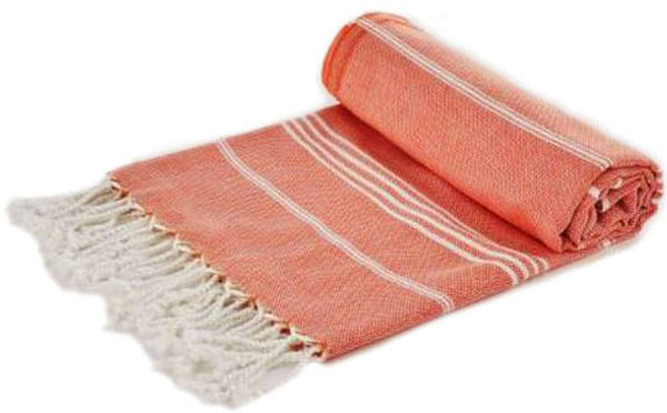 Turkish Peshtemel Towels - Ephesus Striped (Coral Red)