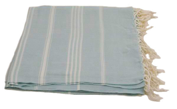 Turkish Peshtemel Towels - Ephesus Striped (Sea Foam Green)