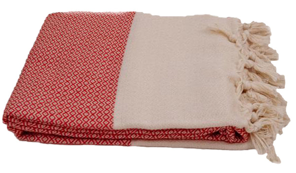 Turkish Peshtemel Towels - Izmir Diamonds (Coral Red)