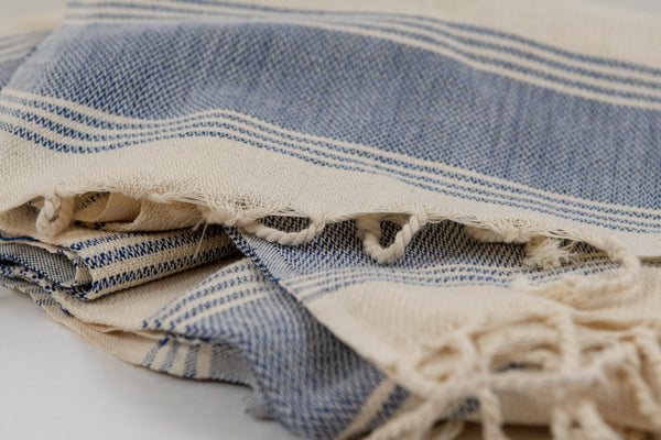 Turkish Peshtemel Towels - Classic Hamam (Blue & Natural Color)