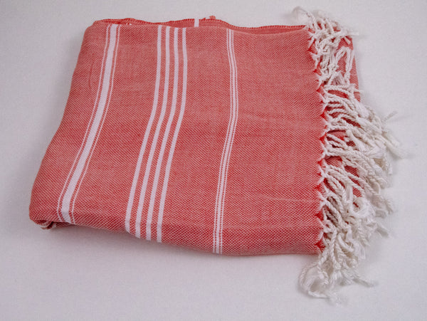 Turkish Peshtemel Towels - Ephesus Striped - Coral