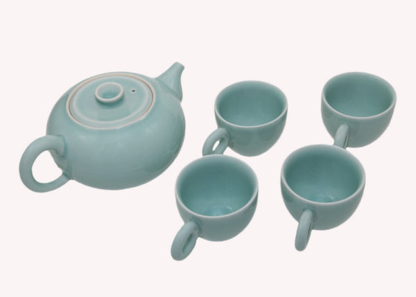 Four Cup Celadon Tea Set | JadeSouk