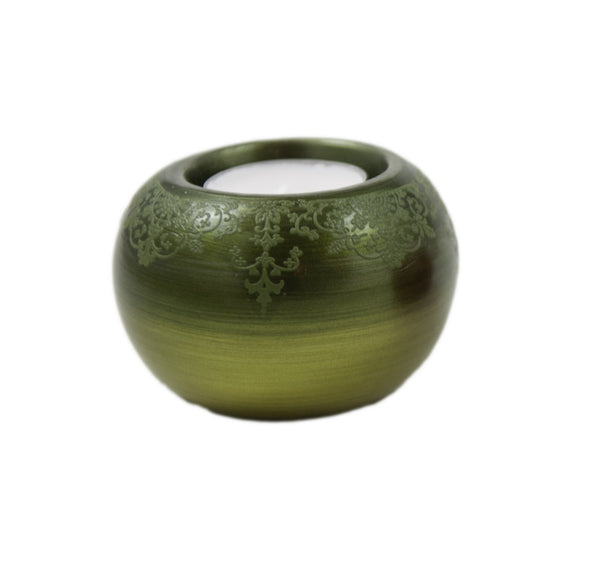 Round Ceramic Tealight Candle Holder - Green | JadeSouk