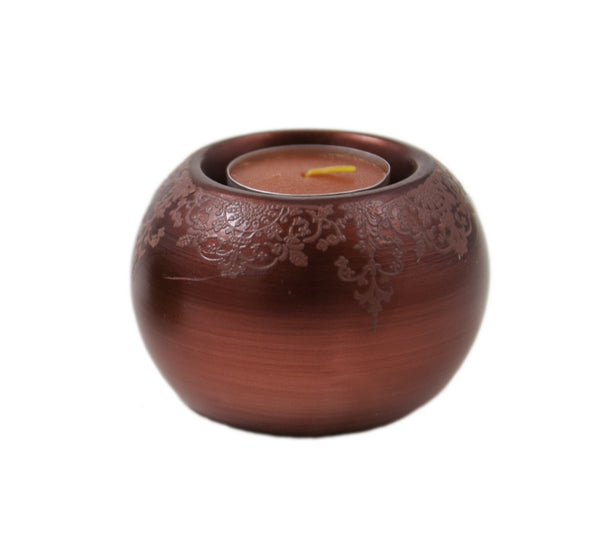 Round Ceramic Tealight Candle Holder - Red | JadeSouk