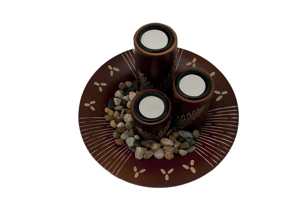 Vientiane Ferns Candle Holder Set - Mahogany | JadeSouk