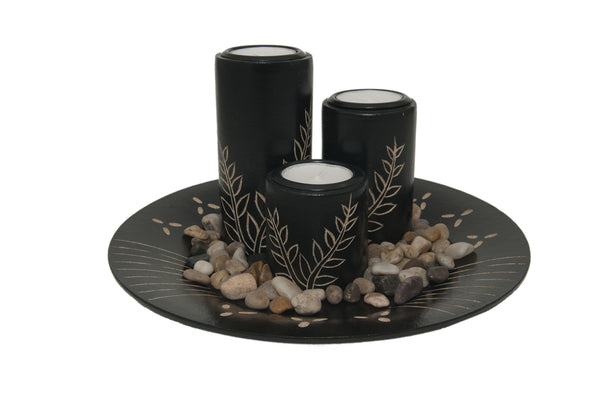 Vientiane Ferns Candle Holder Set - Black | JadeSouk