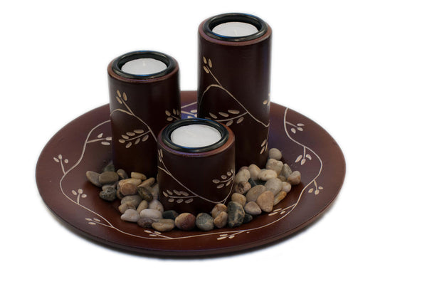 Vientiane Vines Candle Holder Set - Mahogany | JadeSouk