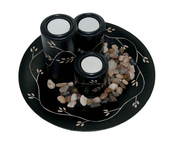 Vientiane Vines Candle Holder Set - Black | JadeSouk