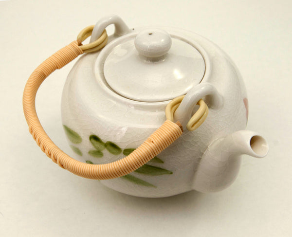 White Crackle Glaze Lotus Flower Teapot | JadeSouk