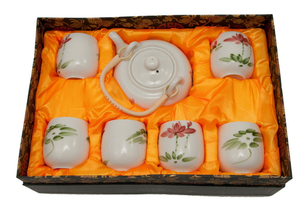 White Crackle Glaze Lotus Flower Teaset - Boxed | JadeSouk