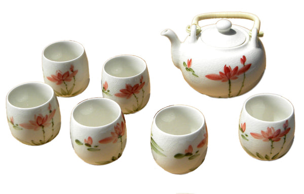 White Crackle Glaze Lotus Flower Teaset - All | JadeSouk