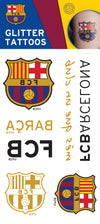 Official FC Barcelona Single Sheet Glitter Temporary Tattoo