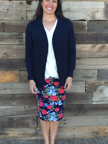Navy Floral Pencil Skirt Plus Size - Everyday Eden