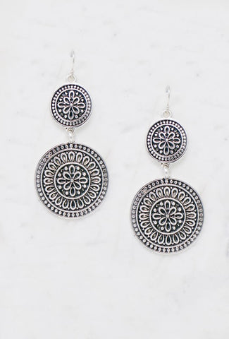 Double Medallion Drop Earrings - Everyday Eden