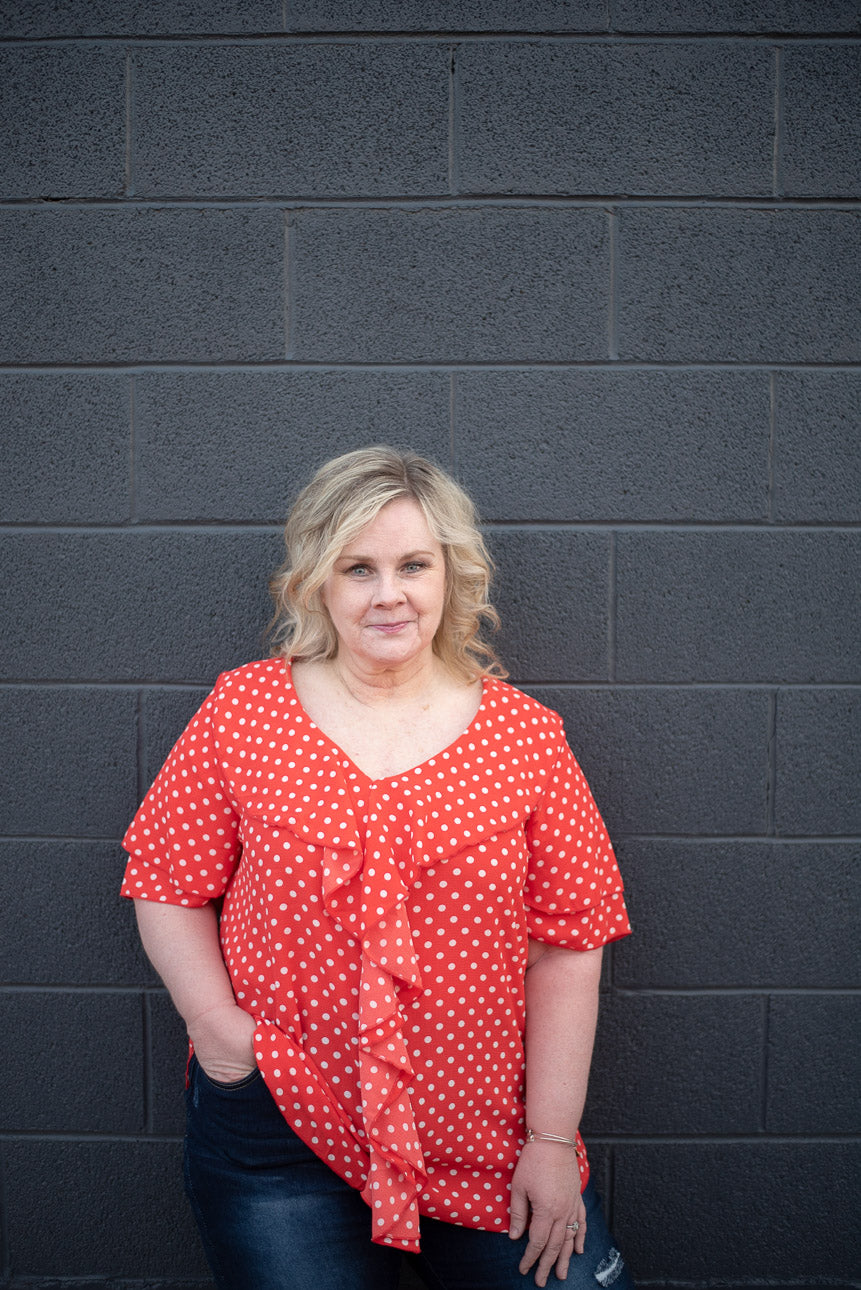 Polka Dot Ruffle Blouse Plus Size - Everyday Eden