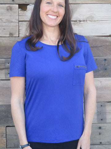 Zippered Pocket Tee Plus Size - Everyday Eden