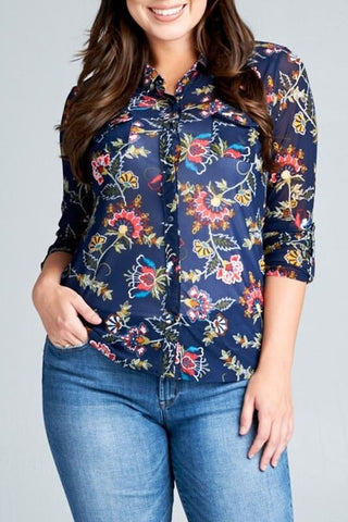 Plus Size Floral Mesh Blouse - Everyday Eden