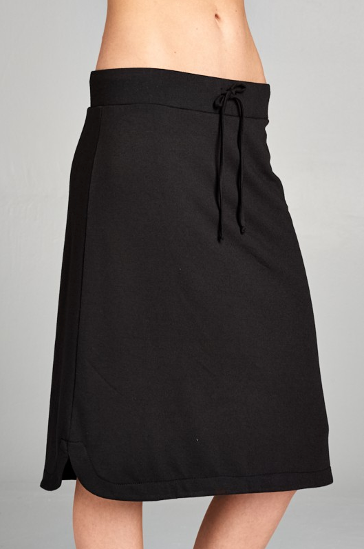 Terry Skirt Solid Black