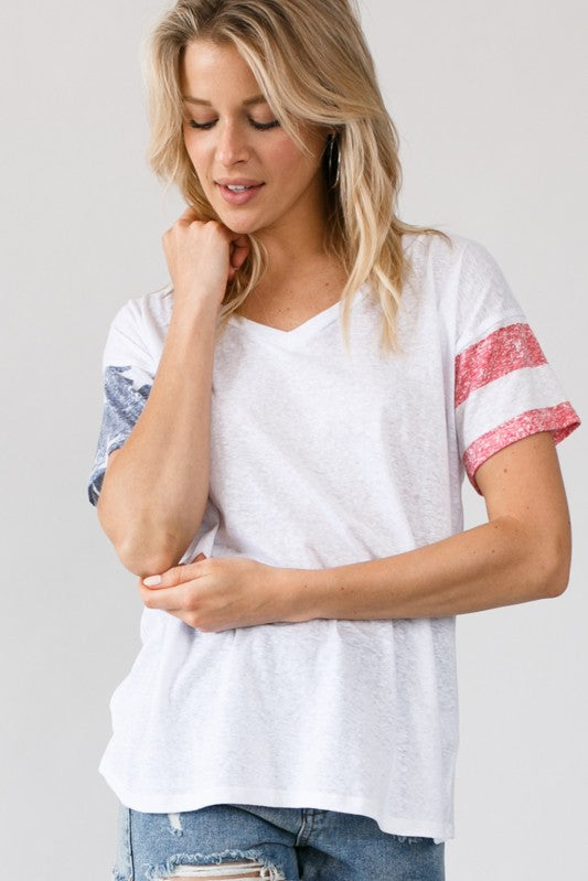 Stripes and Star Sleeve Plus Size - Everyday Eden