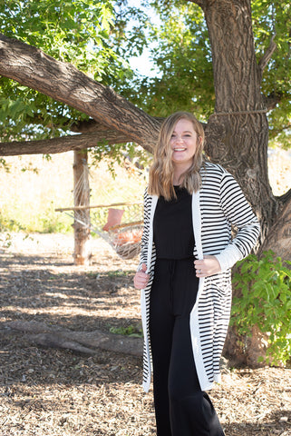 White Striped Bamboo Cardigan - Everyday Eden
