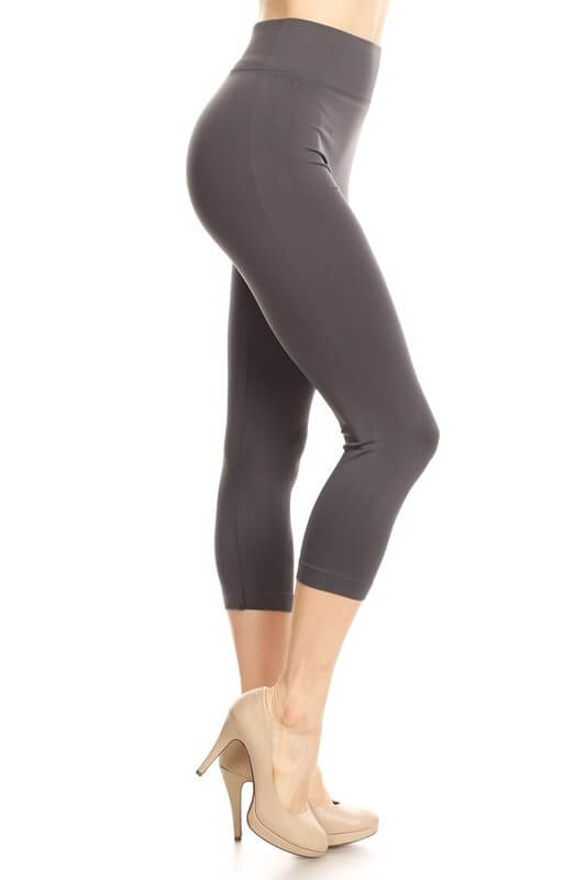 BLACK High Waist Solid Athletic Capri - Everyday Eden