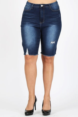 Frayed Hem Denim Plus Size Shorts - Everyday Eden