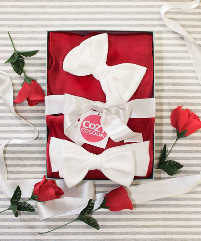 Red Velour Bow Gift Set