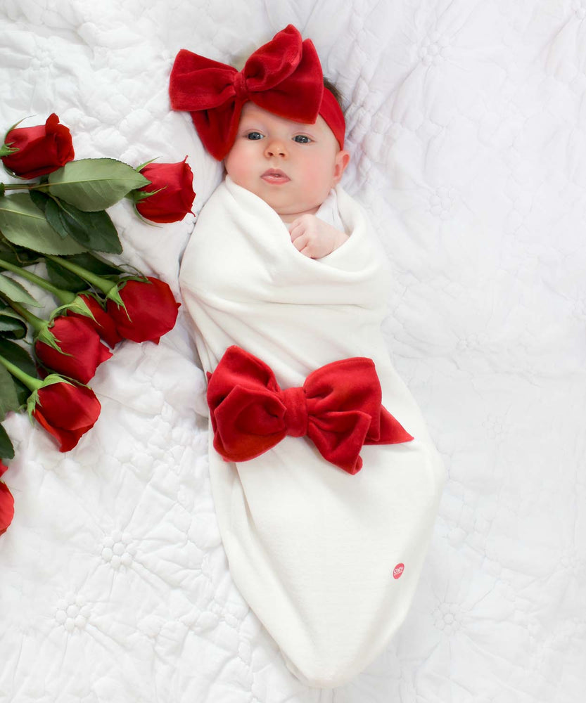 Ivory Velour Bow Gift Set-Cozy Cocoon