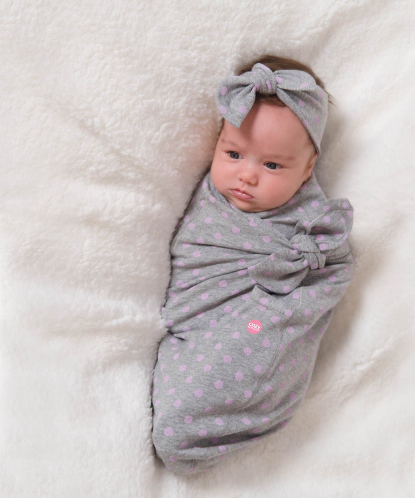 Cozy Wrap Gray with Pink Dots