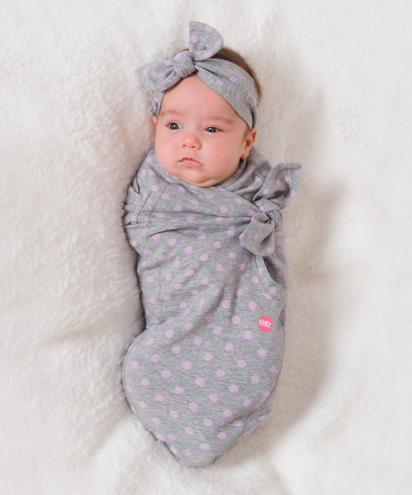 Cozy Wrap Gray with Pink Dots-Cozy Cocoon