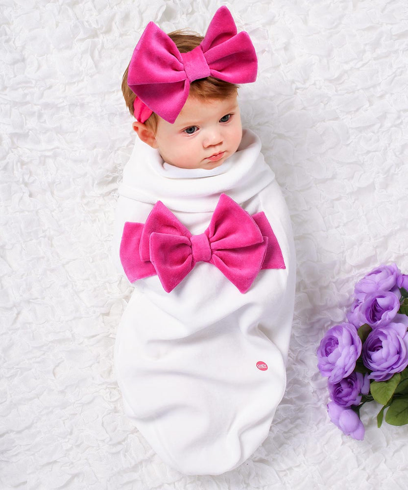 Big Pink Bow Velour Headband Set-Cozy Cocoon