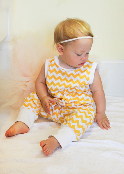 Yellow Chevron Romper-Cozy Cocoon