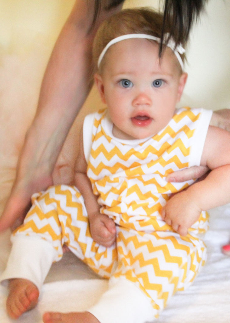Yellow Chevron Romper
