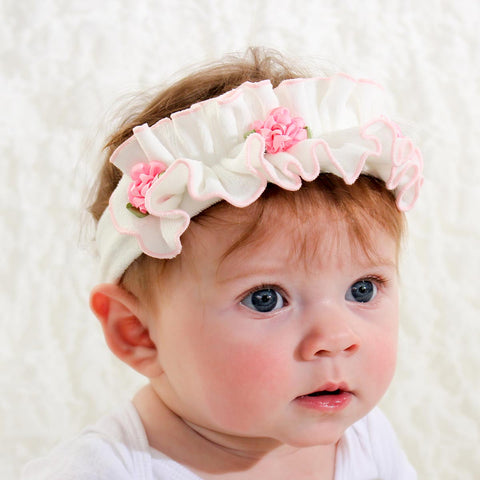 White Ruffle Headband