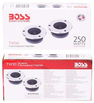 "2) New BOSS Audio TW-30 3"" 250W Car Bullet Dome Flush Super Tweeters Stereo TW30"