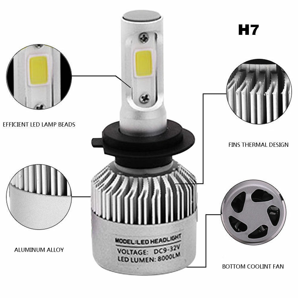2PCS LED Headlight S2- H7 Light White 6500K 12V 24V for auto or motocycle
