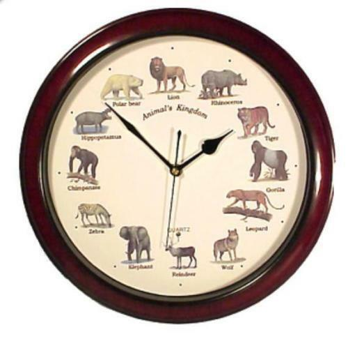 Animal Kingdom Wall Clock W/Sound, Brown Color, 14''l X 14''h X 3''w Free shippi