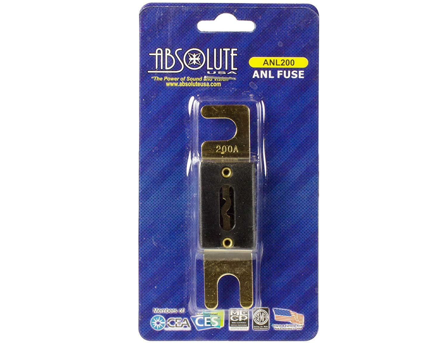 Absolute ANL200 200-Amp Gold ANL Fuse- Fuse Rating: 200A- 4 x 4 x 2 inches