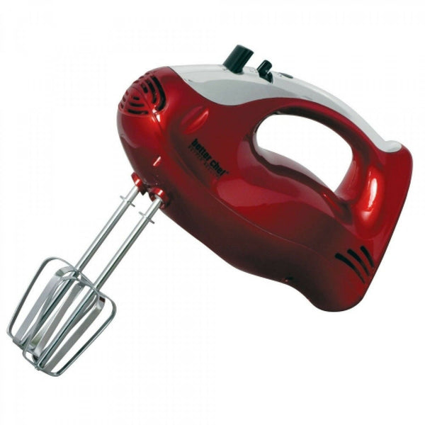 Better Chef Hand Mixer - Red Color - Stainless Steel - Ergonomic Handle