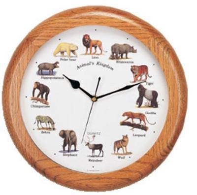 Animal Kingdom Wall Clock W/Sound,Wood,14''l X 14''h X 3''w