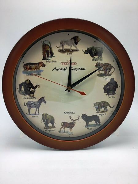 Animal Kingdom Wall Clock W/Sound-Brown Color-11''l X 2''h X 11''w