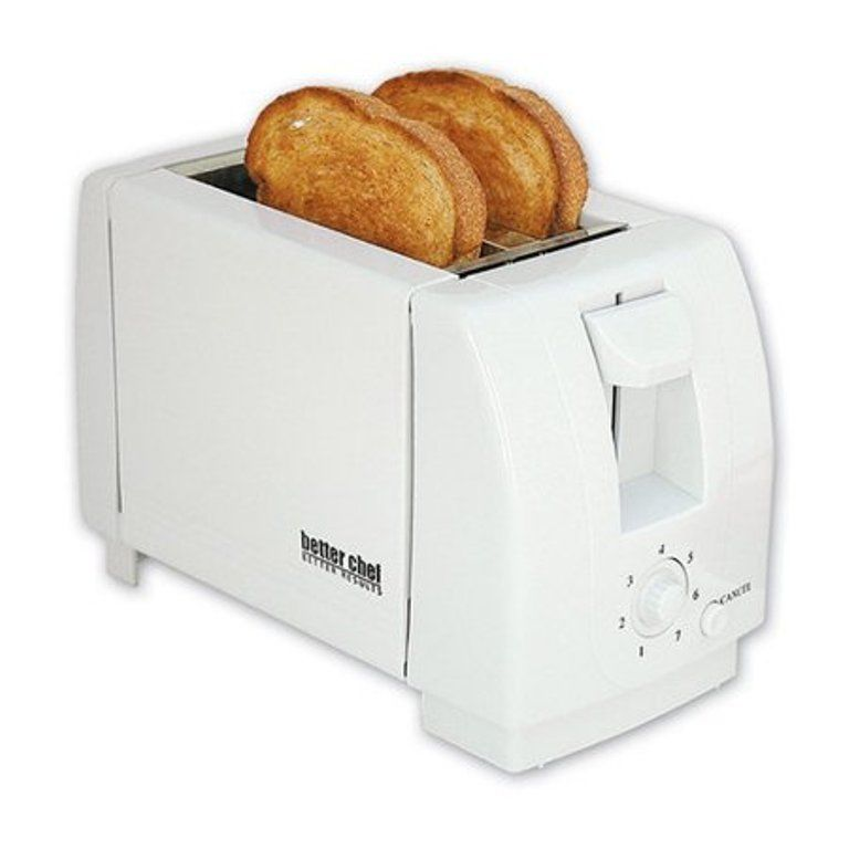 Better Chef 2-Slice Toaster - Adjustable Browning Control - White Color