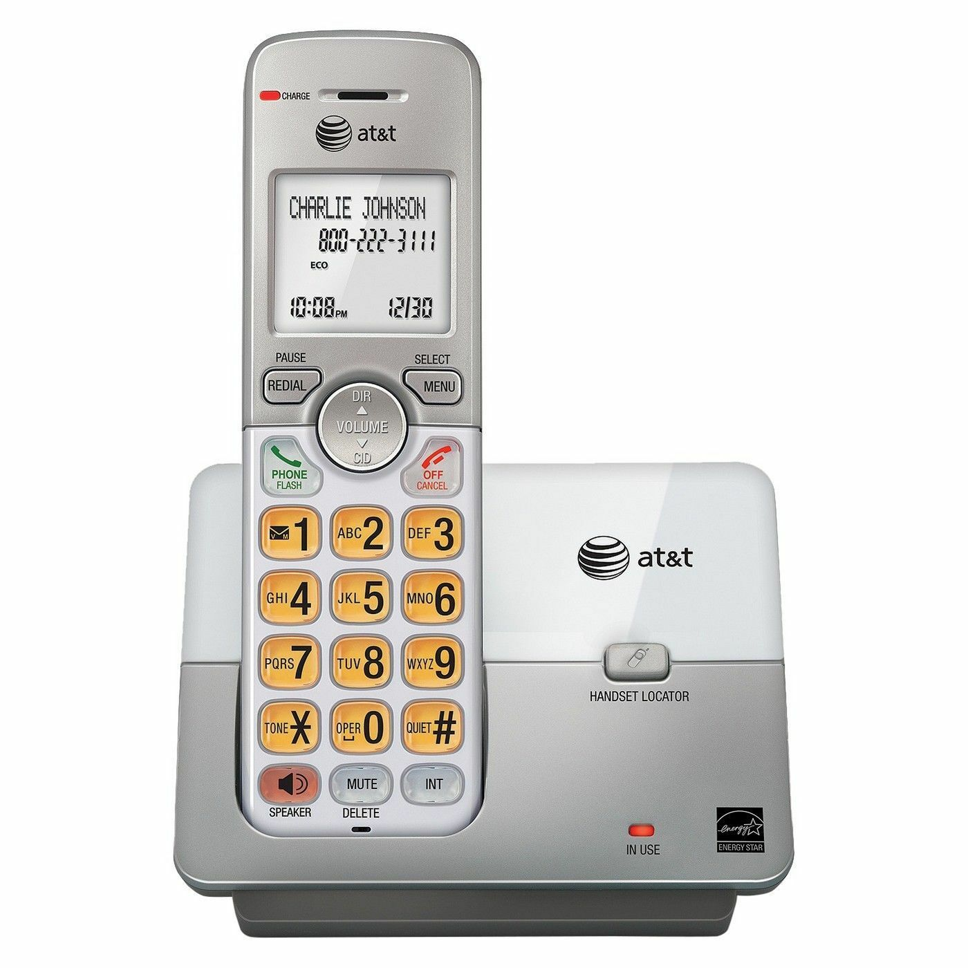 AT&T DECT 6.0 Phone With Caller ID/Call Waiting-1 Cordless Handset-Silver Color