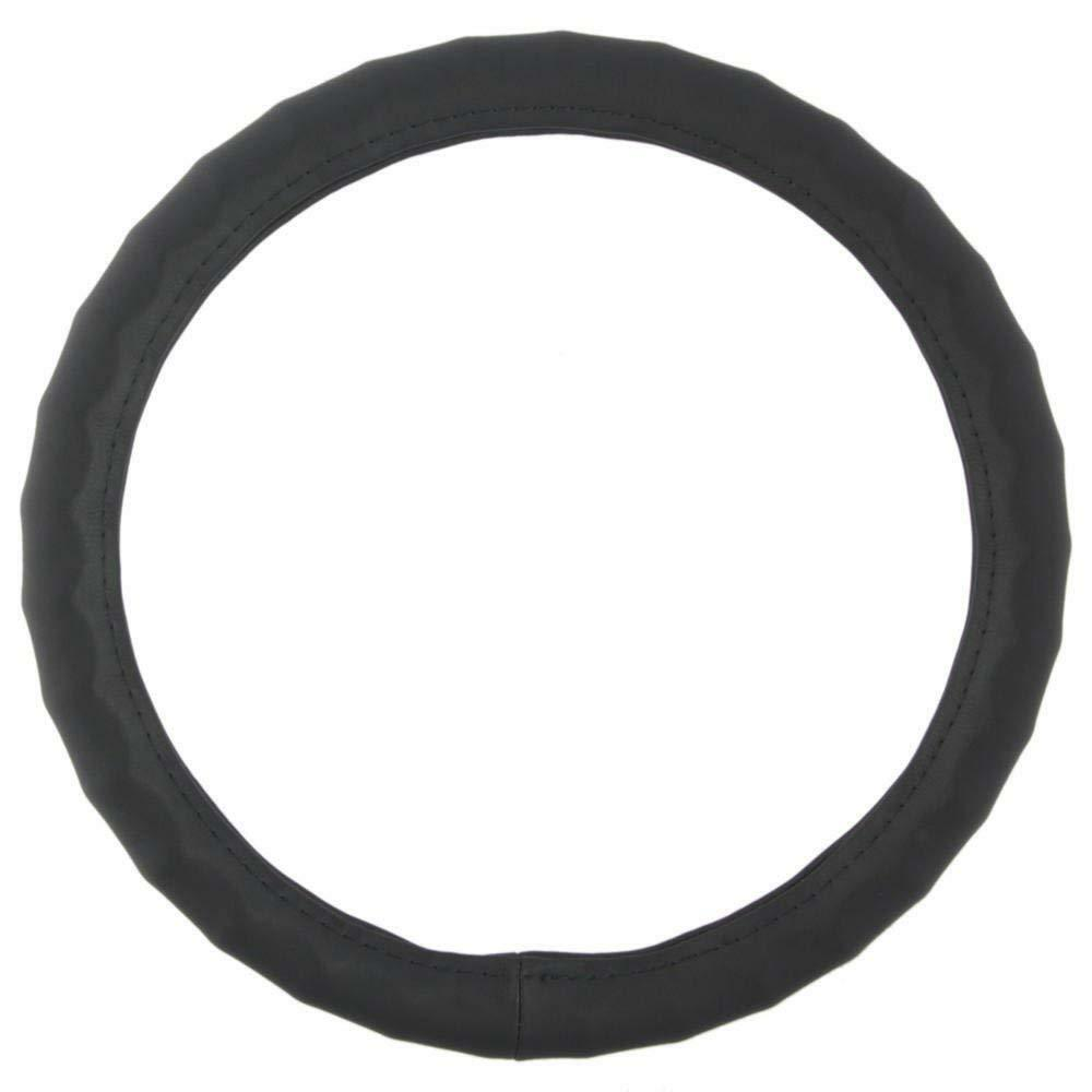 "BDK Genuine Leather Steering Wheel Cover Medium 15.5"" - 16.55"" Black"