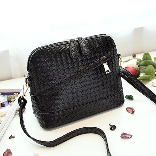 Leather Shoulder Bag Double Zipper