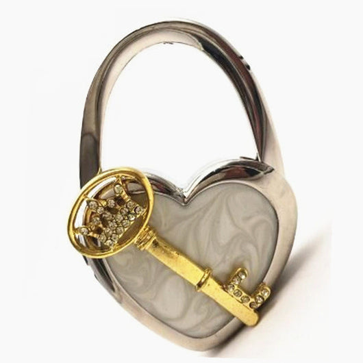 Purse Handbag Hanger Holder Heart Shape with KeyandCrown Rhinestones