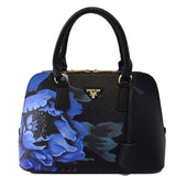 Leather Handbag Shoulder Purse with Flower Printing