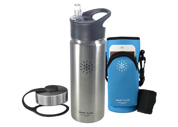 18oz Stainless Steel Vacuum Insulated Flask with Btieproof Straw Lid and pouch (Stainless)